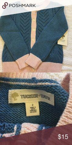 Tucker + Tate cardigan sweater- NWT Adorable blue with pink trim cardigan sweater- NWT! Tucker + Tate Shirts & Tops Sweaters