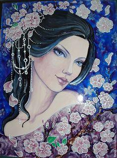 """Купить Картина """"Дыхание весны"""" - девушка, сакура, цветы, весна, Витражная роспись, картина, подарок"""