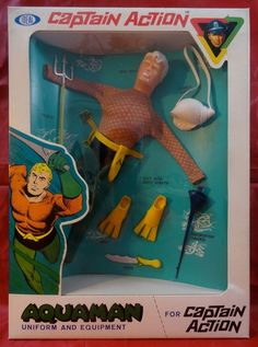 Captain Action Aquaman Costume Set Ideal 60's 100% Original Sewn MIB DC Vintage #Ideal