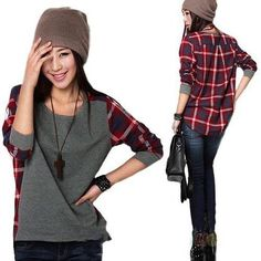 Minetom Neue Mode Langarm-Plaid Hemd grundiert Frauen weiblich Pullover SML XL XXL Größe lose Bluse: Amazon.de: Bekleidung