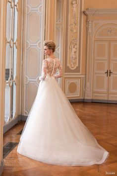 jillian sposa bridal 2015 illusion long sleeve wedding dress back view train
