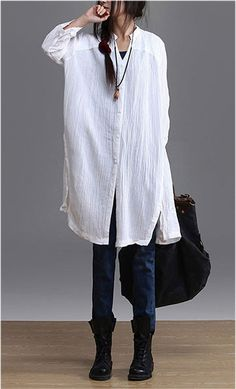 Linen Top in White