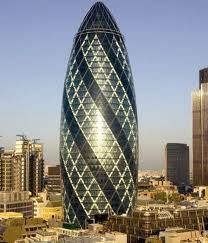 30 St Mary Axe, London, known as The Gherkin. Norman Foster and Arup engineers. @Deidré Wallace