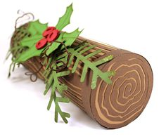 100% cute, 100% paper! Yule Log and wood grain overlay video tutorial and WPC cutting files for Pazzles Craft Room members.