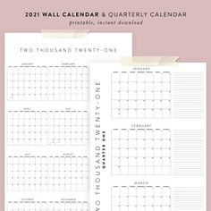 Printable 2021 Calendar Bundle Yearly Quarterly Calendars | Etsy