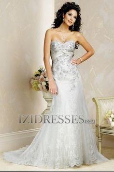 A-Line Sheath/Column Strapless Sweetheart Lace Wedding Dress - IZIDRESSES.COM
