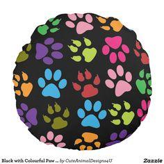 Black with Colourful Paw Prints Round Throw Pillow Round Pillow