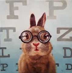 BUNNY WITH GLASSES - FOUR EYES BY LUCIA HEFFERNAN
