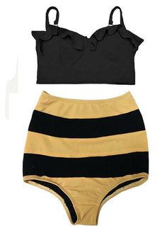 bb01cc6d2e97 Black Top and Brown Black Stripe High Waisted Waist Shorts Bottom Swimsuit  Swimwear Bikini Bathing suit Woman Womens Lady Adult Female S M