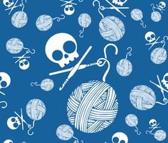 Yarn-Skull-and-Yarn-Toss-Lapsis-Blue fabric by kfrogb on Spoonflower - custom fabric