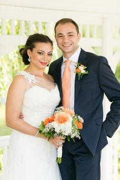 Classic Lakeside Summer Wedding: #EnzoaniRealBride Alexis in Enzoani Heli wedding dress