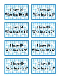 """Here's a set of """"I have, who has?"""" cards for multiplication facts from 0-12. Includes 24 cards."""