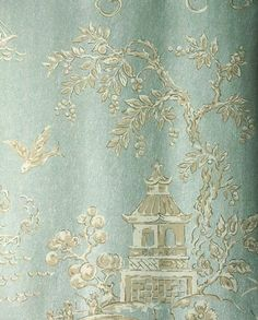 Chinese Bridges Wallpaper Chinese scenes in beige and cream printed on an irridescent aqua background