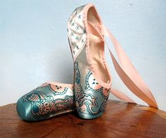 Mehndi Pointe Shoes Teal and Pink Hand Dyed by KiteFlyerArt, $90.00