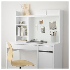IKEA - MICKE, Add-on unit-high, white, Extra room above the top shelf where you can keep your books, CDs or DVDs. The side panels act as bookends and keep everything in place. Fits MICKE desk This product has been developed and tested for domestic use. Study Room Decor, Teen Room Decor, Room Decor Bedroom, White Desk Bedroom, Bedroom Furniture, Ikea Bedroom Design, Bedroom Yellow, Teen Rooms, Bedroom Plants