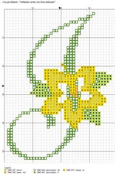 alfabeto verde con fiore stilizzato J