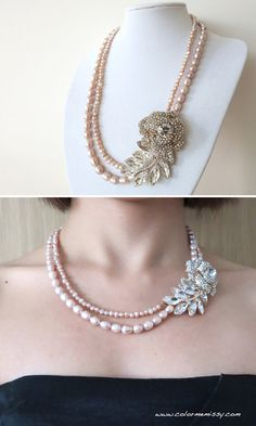 Rose Gold Crystal Rose and Leaf with Freshwater Pearl Double Strand Necklace - Bridal Necklace, Hollywood Classic, Pink Gold Weddings, Chic