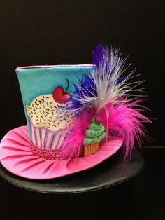 Pink and Turquoise Cupcake Mini Top Hat.  Great for Birthday Parties, Tea Parties, Photo Prop and Much More... on Etsy, $29.95