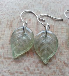 Beautiful jewellery handmade in the uk at etsy.com/shop/hippiechip  Leaves leaf green glass sterling silver nature