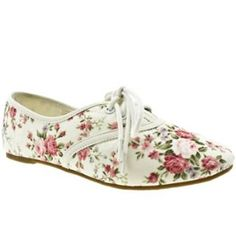 Womens Schuh Molly Lace Up Floral Flats
