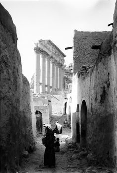 The village inside the temple of Bel, early 20th century, Palmyra , Syria
