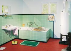Jaren 50 badkamer | Badkamer | Pinterest | Interiors, Mid century ...