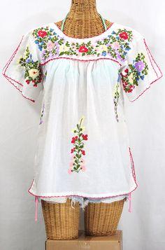 """Siren """"La Lijera"""" Embroidered Peasant Blouse Mexican Style -White $56.95"""