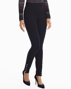"Our ponte novelty leggings prove you can be casual and chic at the same time. Ponte button hem black leggings Sits 2"" below waist; full length, covers ankle Pull-on styling with elasticized waistband Soft goldtone functional buttons at ankles Regular: Approx. inseams: 26 1/2"" short, 29"" regular, 31"" long Petite: Approx. inseams: 26 1/2"" Rayon/nylon/spandex. Turn inside out, machine wash cold. Imported Model is 5'10"" and wearing XS or size 2"