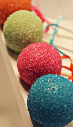 Sparkly Cake Pops. For the rainbow?