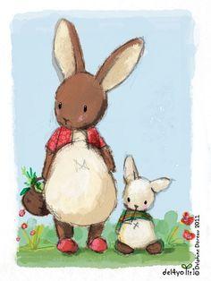 By Delphine Doreau / - Cute bunny rabbit artwork! Illustration Mignonne, Children's Book Illustration, Illustration Children, Art Illustrations, Bunny Art, Cute Bunny, Cutest Bunnies, Child Draw, Lapin Art