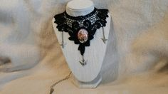Black Lace Collar/Choker with Mermaid Pendant - CL1000116 by ShyCollections on Etsy