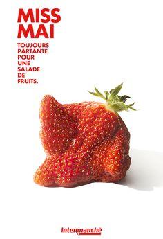 Nos fraises, mêmes moches feront de belles salades de fruits. #Intermarché #Fruits #ProducteurCommerçant