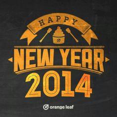 2014 Happy New Year 2014, Orange Leaf