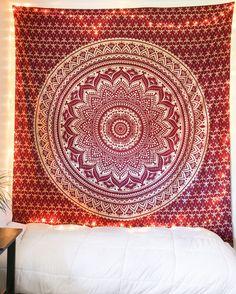 Maroon & Gold Glitter Mandala Tapestry