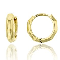 10K Yellow Gold High Polished 2.70x10.00mm Octagon Huggie Earring. 10K SOLID GOLD: This product is made of solid 10K gold and each piece is carefully trademarked with the metal purity for certification. Each piece is stamped 10K or 417 and that guarantees the quality and craft. DESIGN & FINISH: We understand gold and we really understand the manufacturing process of precious metal. Each piece is carefully designed from scratch by our design department and we present to you our finished...