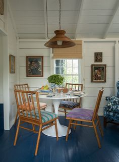 A Nantucket Cottage Revisited- table, define dining area with lamp Nantucket Cottage, Nantucket Style, Maine Cottage, Beach Cottage Style, Beach Cottage Decor, Cozy Cottage, Cottage Living, Cottage Homes, Cottage Ideas