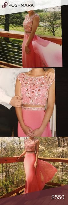 Sherri Hill Prom Dress 2 piece, Beaded, absolutely stunning Sherri Hill dress. Wore once for prom. Has a beautiful draping on the back of the dress. Perfect condition, never altered Sherri Hill Dresses Prom