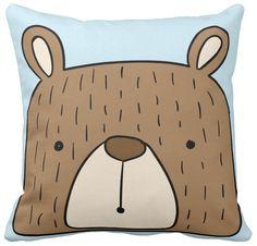 Poszewka dziecięca miś niedźwiadek na niebieskim pod-3095   poduszki i poszewki ozdobne na ArtMini.pl