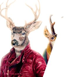 Deer Art Print Deer Wall Art Deer Illustration by AnimalCrew Hirsch Illustration, Deer Illustration, Stretched Canvas Prints, Framed Art Prints, Framed Wall, Art Du Cuir, Urbane Kunst, Deer Wall Art, Foto Fun