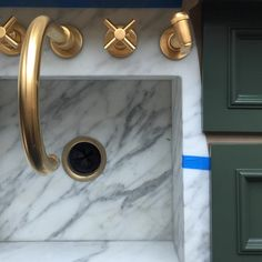 "Green + gold + Calacatta kitchen. Benjamin Moore paint color ""Chimichurri"""