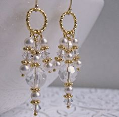 White and Gold Wedding. Bridal Pearl and Crystal Chandelier Earrings. Earrings