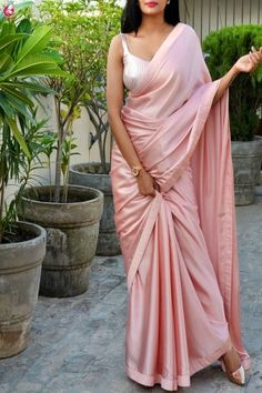 Buy Peach Satin Dupion Silk Taping Saree - Sarees Online in India Sari Design, Diy Design, Saree Draping Styles, Saree Styles, Indian Dresses, Indian Outfits, Indian Saris, Beau Sari, Satin Saree