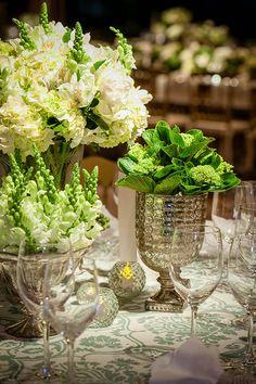 Decoração de casamento em branco e verde - Constance Zahn