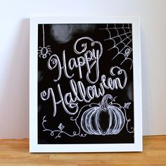 Happy Halloween Sign - Halloween Chalkboard  by Sugarbirdprints - Halloween Decor - Chalkboard Art - Chalk Art - Typography - Hand Lettering