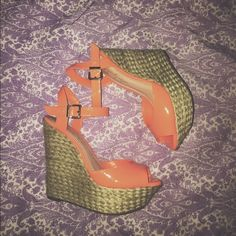 Jessica Simpson wedges Orange wedges. Great condition. Like new. Jessica Simpson Shoes
