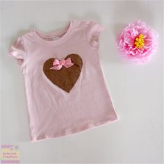 Size 3 Pale Pink T-shirt with Bronze  Sequin Heart Applique