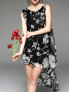 97f95b1437 H-line Printed Vintage Crew Neck Sleeveless Midi Dress Casual