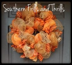 Perfect wreath for Fall. This wreath is made on a 24 inch work wreath so you may be able to see some of the ties. The wreath is approximately 25