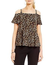MICHAEL Michael Kors Stud Chain Strap Flutter Short Sleeve Cold Shoulder Leopard Print Top