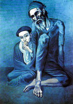 Le vieux Juif Il s'agit d'un vieux mendiant et d'un jeune garçon frigorifiés et affamés Picasso atteint à une absolue simplicité avec des éléments de maniérisme fortement marqués à la fin de la période bleue Ce maniérisme hérité du Greco se définit par l'expressivité des allongements des formes humaines, tout spécialement l'allongement des doigts, des mains ou des pieds.